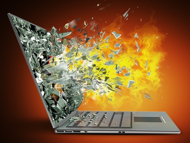 Graphic of burning laptop