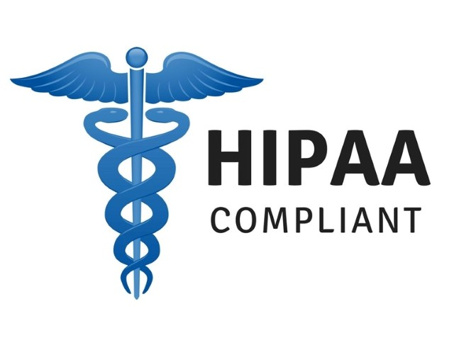HIPAA Compliance text by blue caduceus