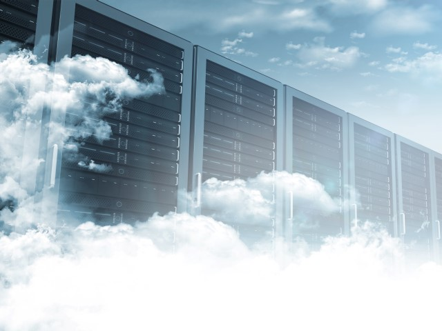 Row of servers surrounded by clouds
