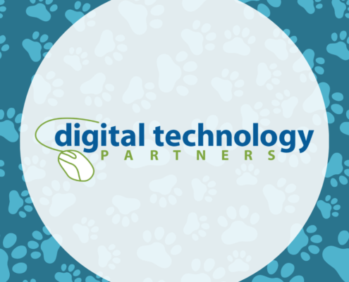 Digital Technology Partners Logo with Paw Print Background