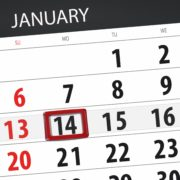 January Calendar with the 14th Circled
