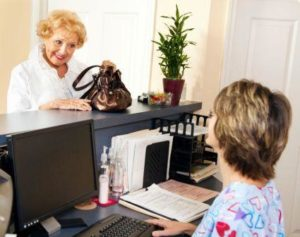 Patient Checking In with secure patient data encryption