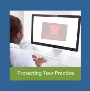 Dentist On PC with caption: Protect Your Dental Practice with Cyber Insurance